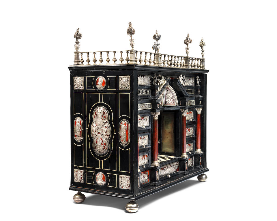 An Augsburg 17th century ebony ripple moulded, ebonised, silver-mounted and red tortoiseshell table cabinet the mounts in the manner of Wenzel Jamnitzer