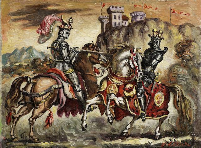 Giorgio de Chirico (1888-1978) Torneo (Painted circa 1945)
