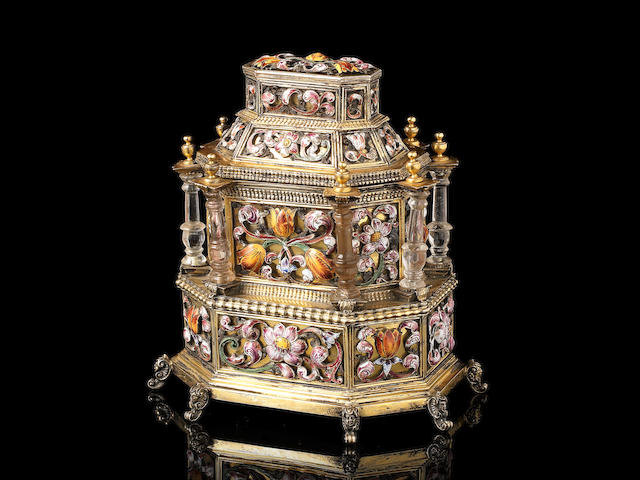 A rare early 18th century Transylvanian rock crystal and enamelled silver-gilt table cabinet unmarked apart from an incuse PL below three stars, possibly an inventory mark