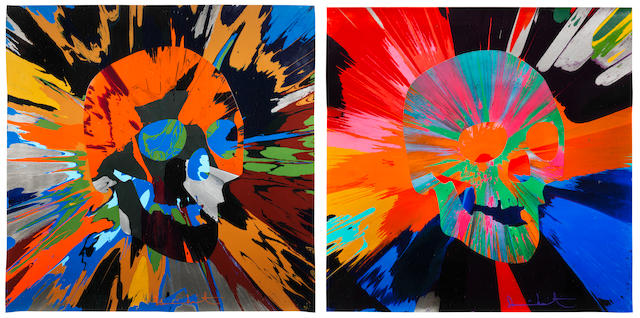Damien Hirst (British, born 1965) Spin Painting with Skulls (Diptych) 2013