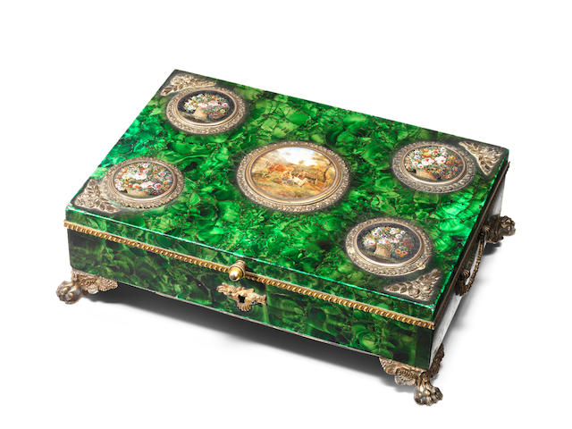 A Russian 19th century gilt-bronze mounted, micro mosaic and miniature inset malachite jewellery boxwith presentation inscription relating to the Czar of Russia and Queen Victoria