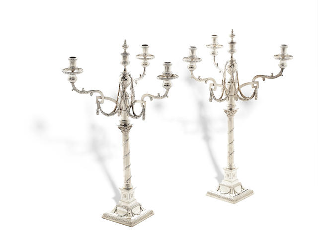 A pair of 18th century Dutch silver  four-light candelabra by Williem Pont, Amsterdam 1785