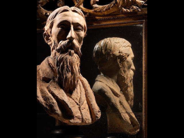 Aimé-Jules Dalou (French, 1838-1902): A  sculpted terracotta portrait bust of John Evan Hodgson R.A dated 1874