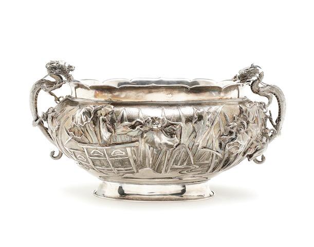 A Yokohama silver bowl Meiji Period