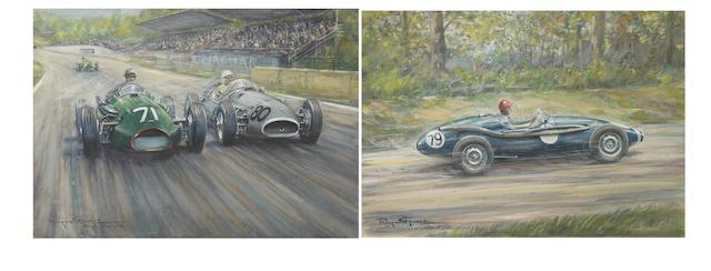 Raymond Groves, (1913-1958), two mixed media studies of single seat racing cars,  ((2))