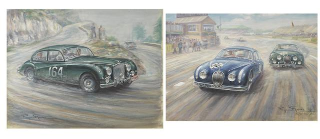 Raymond Groves, (1913-1958), two mixed media studies of Jaguar competition cars,  ((2))