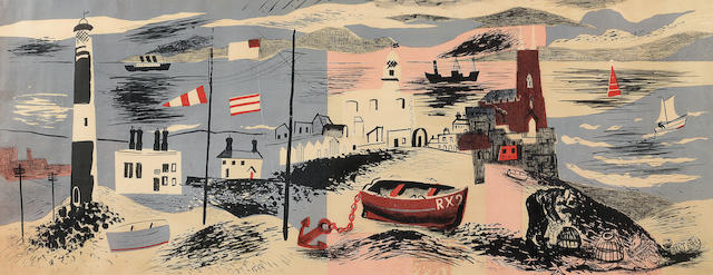 John Piper C.H. (British, 1903-1992) Nursery Frieze I Autolithograph, 1936, printed in colours, on machine made lithographic cartridge paper, unsigned as published from an unspecified edition, printed by Waterlow & Sons, published by Contemporary Lithographs, 460 x 1214mm (18 1/8 x 47 3/4in)(I)