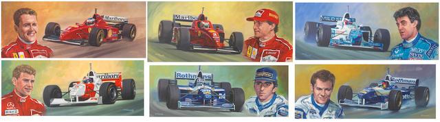 Ross Wardle (British), a series of six Formula 1 driver artworks, ((6))
