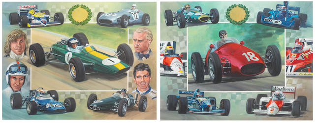 Ross Wardle (British), a pair of Grand Prix driver montage artworks,    ((2))