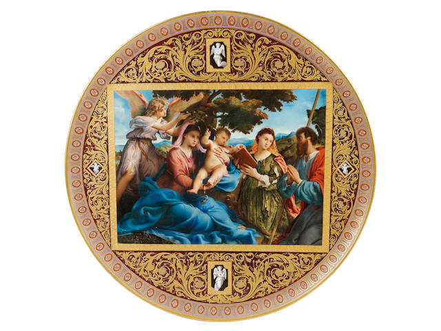 A good and large Vienna style wall plaque, circa 1900