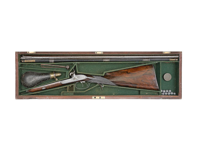 A Fine Cased 28-Bore Smooth-Bored D.B. Percussion Rifle For Ball