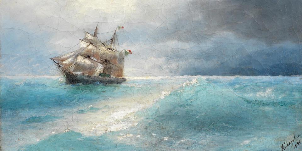 Ivan Konstantinovich Aivazovsky (Russian, 1817-1900) Italian ship at sea