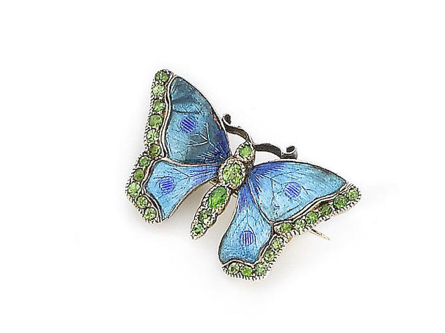 An enamel and gem-set butterfly brooch, by Child & Child,