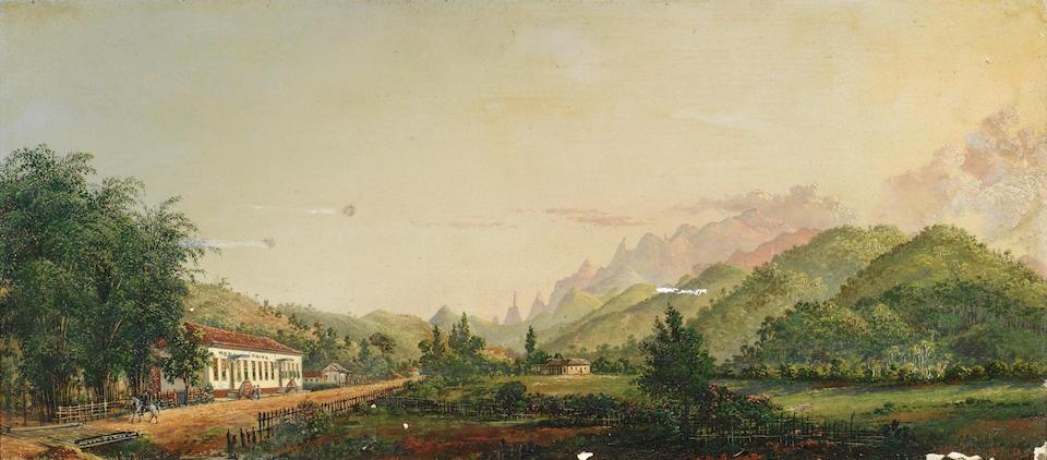 Nicolau Antonio Facchinetti (Italian, 1824-1900) Serra dos Órgãos seen from Varzea in Teresópolis, Rio de Janeiro; and Barreira from Rio Soberbo, Brazil, a pair each 21 x 46cm (8 1/4 x 18 1/8in). (2)