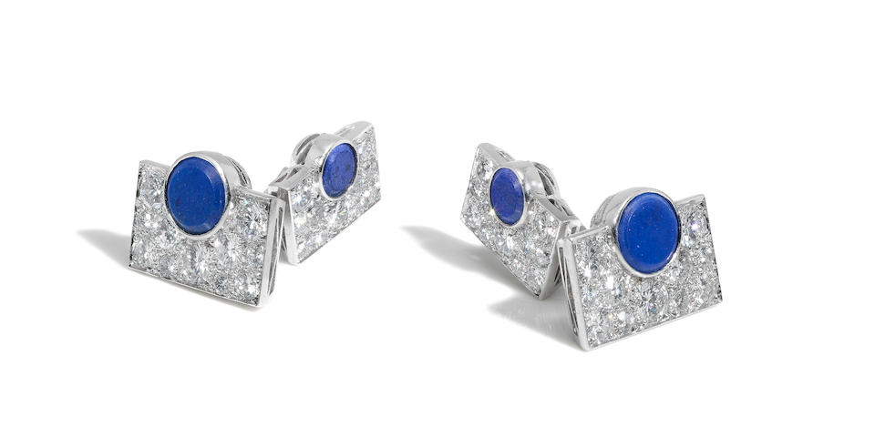 A pair of lapis lazuli and diamond cufflinks, by Van Cleef & Arpels