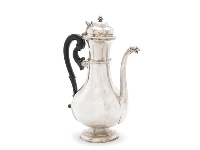 A late 18th / early 19th century silver coffee pot, possibly Italian marked with a crowned shield, distorted, with two further marks 'SC' and 'LM'