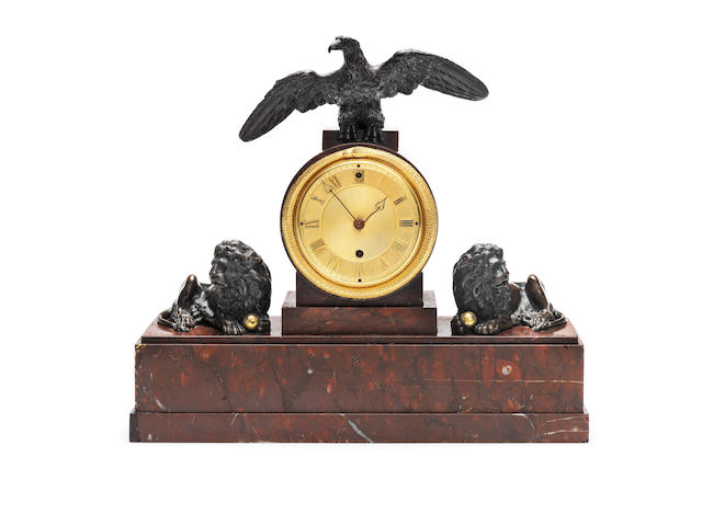 An early 19th century rouge marble and bronze mantel timepiece Vulliamy, London, No.589