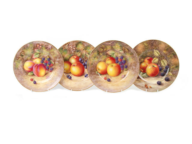 Four Royal Worcester painted fruit plates, two other plates  and a set of ten plates, dated 1953-59
