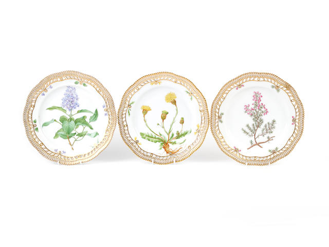 Three Royal Copenhagen Flora Danica plates, one circa 1870-1890, another circa 1894-1900, the other early 20th century