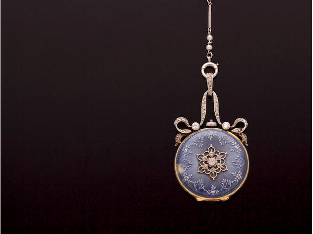 An enamel and diamond set pendant watch and a seed pearl set chain