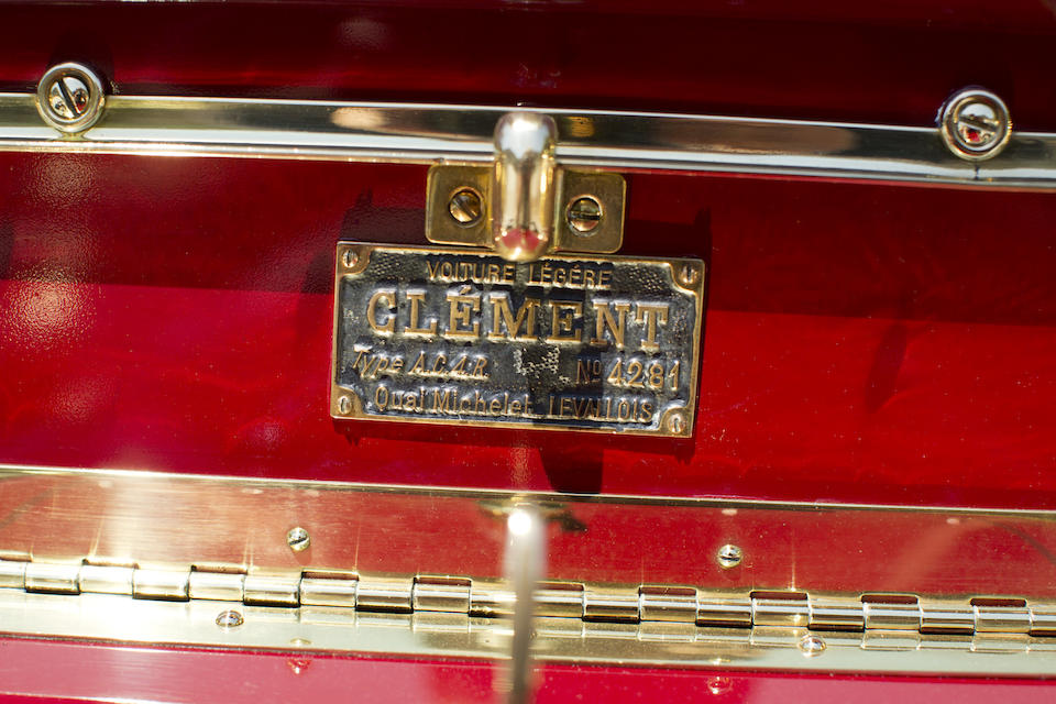 Formerly in the A.W.F. Smith Collection, Pebble Beach Concours d'Elegance exhibited ,1903 Clement Model AC4R Rear Entrance Tonneau  Chassis no. 4281 Engine no. 423