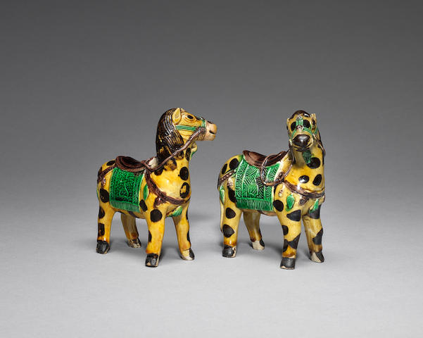 A rare pair of famille verte biscuit horses Kangxi (4)