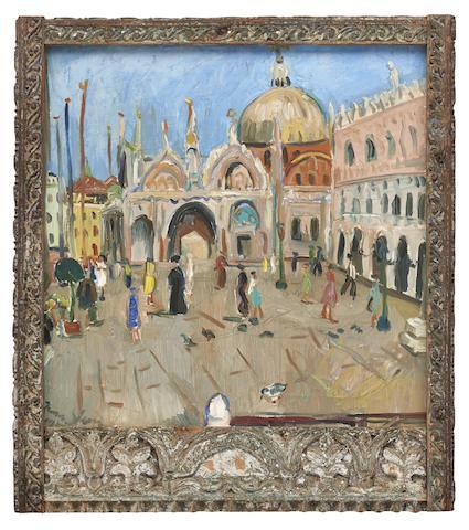 Irma Stern (South African, 1894-1966) Piazza San Marco, Venice within an original Zanzibar frame