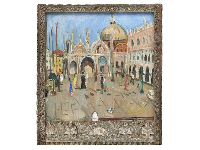 Irma Stern (South African, 1894-1966) Piazza San Marco, Venice within an original Zanzibar frame