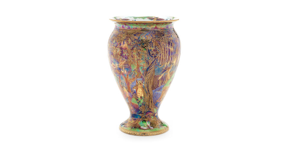 Daisy Makeig-Jones for Wedgwood 'Jewelled Tree with Cat and Mouse' a Fairyland Lustre Vase, circa 1925