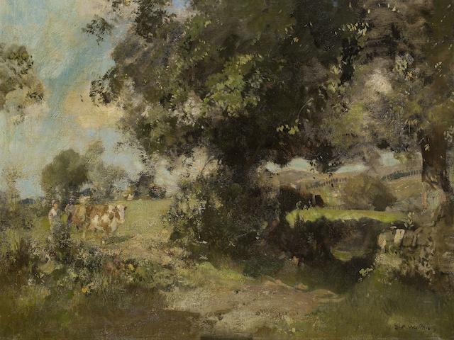 Edward Arthur Walton RSA PRSW HRWS (British, 1860-1922) Pastoral Scene, Ceres, Fife 71.5 x 91 cm. (28 1/8 x 35 13/16 in.)