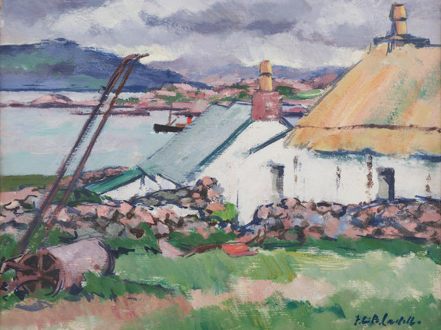 Francis Campbell Boileau Cadell RSA RSW (British, 1883-1937) An Old Croft, Iona 38 x 45 cm. (14 15/16 x 17 11/16 in.) Another Iona view verso