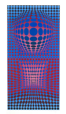 Victor Vasarely (Hungarian, 1906-1997) VP-RB Screenprint in colours, 1972, on wove, signed and numbered 35/190 in pencil, with the Fondation Vasarely blindstamp, with margins, 840 x 420mm (33 x 16 1/2in)(I)