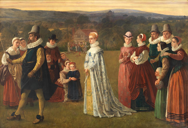 English School 19th Century A Tudor scene of father and daughter leaving the family estate and manor house