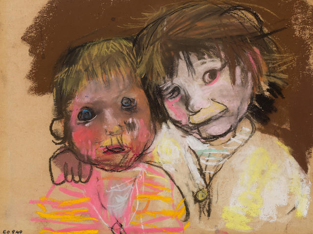 Joan Eardley RSA (British, 1921-1963) Two Samson Children 22.5 x 27.5 cm. (8 7/8 x 10 13/16 in.)