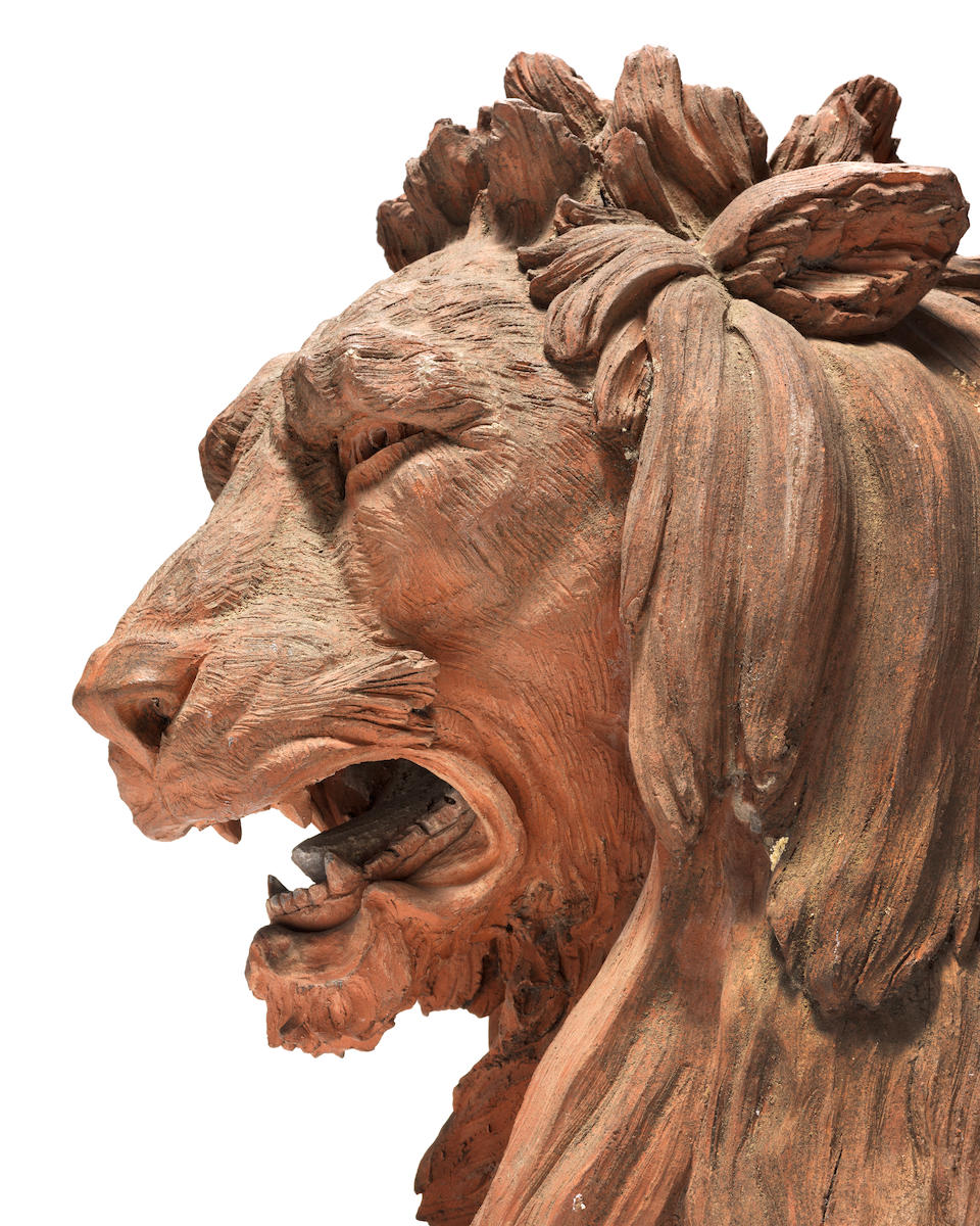 A large pair of 19th century terracotta lions (2)