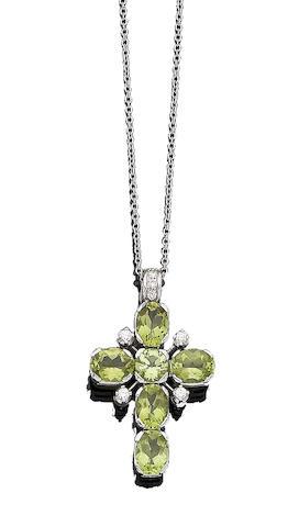 A peridot and diamond pendant necklace, by Kiki McDonough