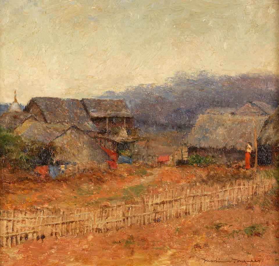 Mortimer Luddington Menpes RI, RBA, RE (British, 1855-1938) Burmese village (in a fluted panel frame)