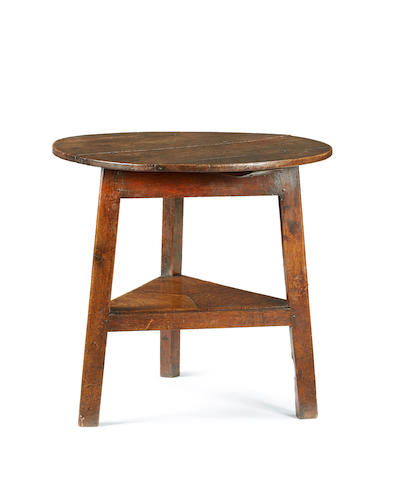 A large George III oak two-tier cricket table, English or Welsh, circa 1800
