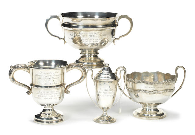 Four sterling silver motoring trophies,   ((Qty))