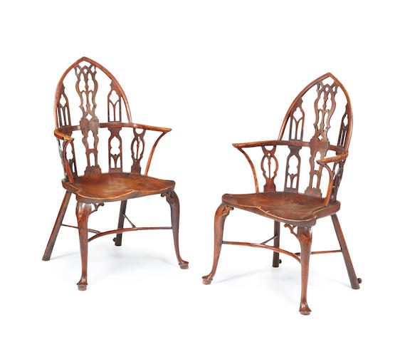 An extremely rare pair of George II yew, elm and ash Gothic Windsor armchairs, Thames Valley, circa 1750  (2)