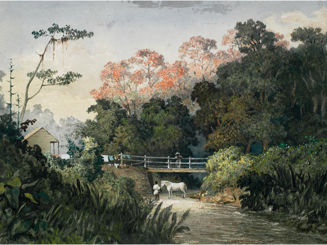 Michel Jean Cazabon (1813-1888) Landscape with figures and horse by a bridge, Trinidad