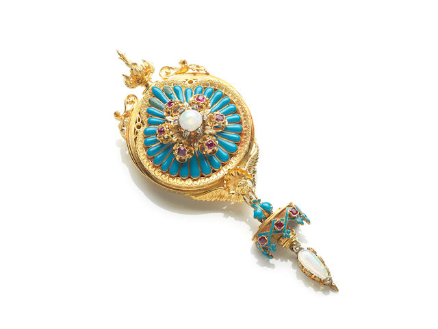 An Archaeological Revival enamel, opal and ruby brooch/pendant,