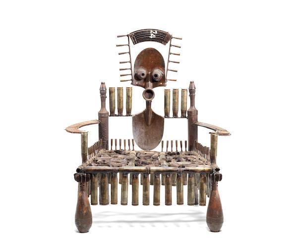Gonçalo Mabunda (Mozambican, born 1975) Weapon Throne I 94 x 82 x 55cm (37 x 32 5/16 x 21 5/8in).