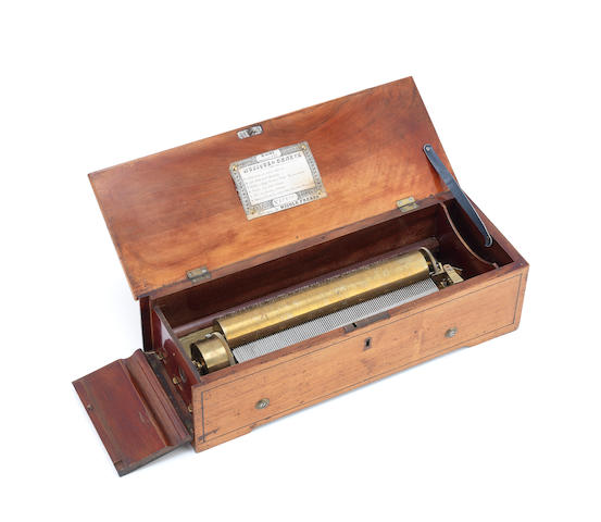 A Nicole Freres Key-Wound Cylinder Musical Box,  Swiss, mid 19th century,