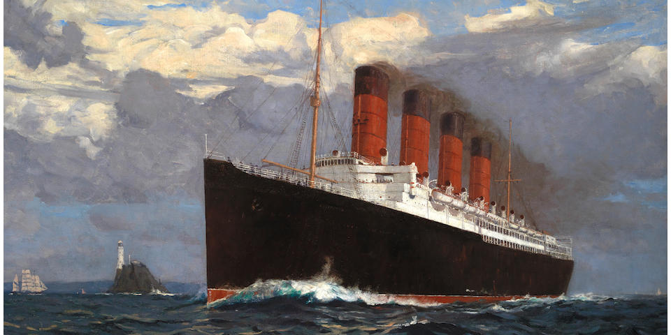 Norman Wilkinson (British, 1878-1971) The Cunard liner Lusitania speeding past the Fastnet lighthouse, probably outward bound for New York on her maiden voyage