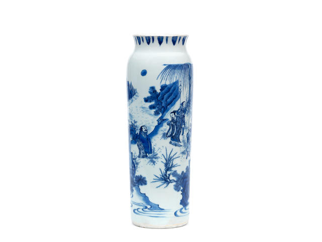 A blue and white sleeve vase, rolwagen Chongzhen
