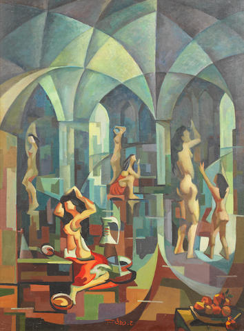 Hafiz Drubi (Iraq, 1914-1991) Cubist Bathhouse