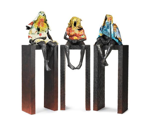 Peju Alatise (Nigerian, born 1975) 'High Horses' triptych