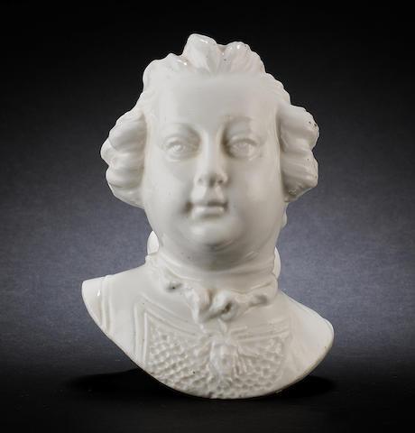 A Chelsea bust of William, Duke of Cumberland, circa 1750-52