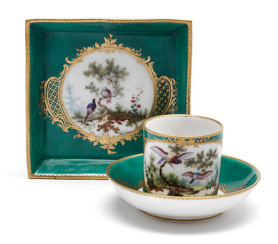 A Sèvres green-ground cup, saucer and tray, circa 1760